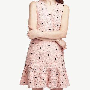 Ann Taylor pink lace flounce crochet dress